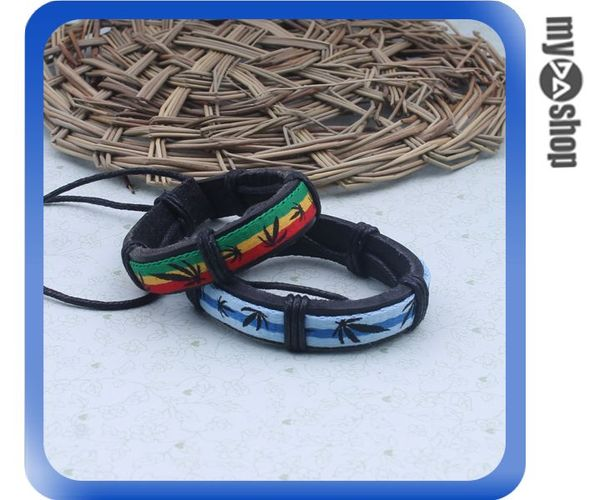 《DA量販店》飾品 個性 皮革 葉子造型 手飾 手環 手鍊 情侶手鍊 藍+綠色 2入(78-1031)