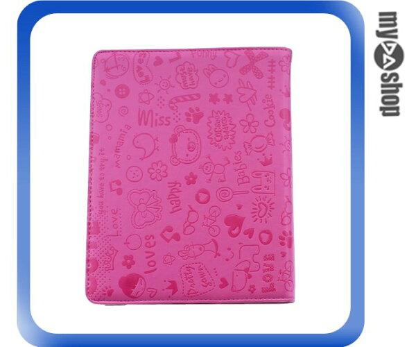 《DA量販店》New iPad iPad2 iPad3 卡通 可旋轉 皮套 保護套 休眠功能 梅紅(78-4094)