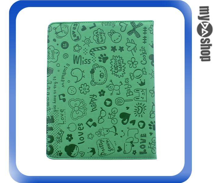 《DA量販店》New iPad iPad2 iPad3 卡通 可旋轉 皮套 保護套 休眠功能 綠色(78-4095)