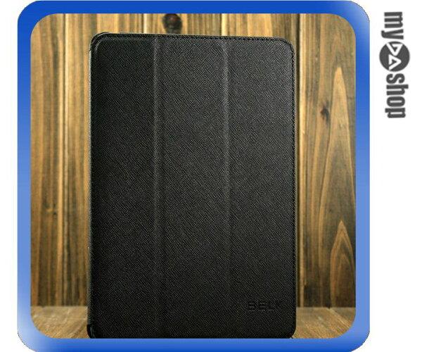 《DA量販店》ipad mini 三折 斜紋 皮套 保護套 保護殼 休眠 支架 功能 黑色(78-4281)