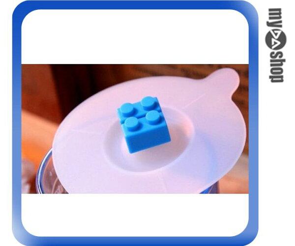《DA量販店》樂高 積木 防塵杯蓋 矽膠杯蓋 防漏杯蓋 天藍色(79-0544)