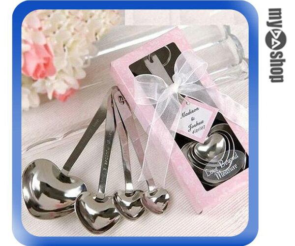 《DA量販店》廚房 用品 愛心 湯匙 勺子 量匙 量勺 四件組 婚禮 小禮物(79-1377)