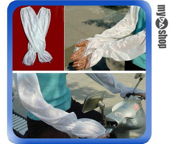 《DA量販店》夏日 防曬 紫外線 透氣 吸汗 束口 緞面 蕾絲 袖套 手套 加長(79-1931)
