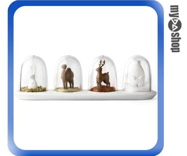 《DA量販店》廚房 動物 造型 調味罐 鹽罐 糖罐 椒鹽罐 婚禮小物 四入一組(79-2531)