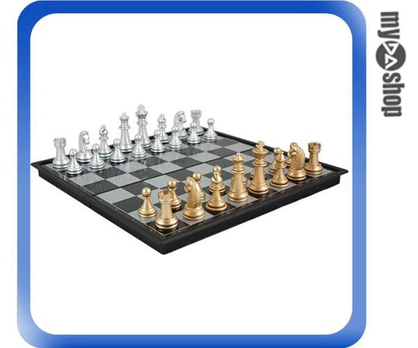 《DA量販店》國際象棋 標準象棋 磁性 西洋棋 金銀色 折疊棋盤 中型(79-3104)