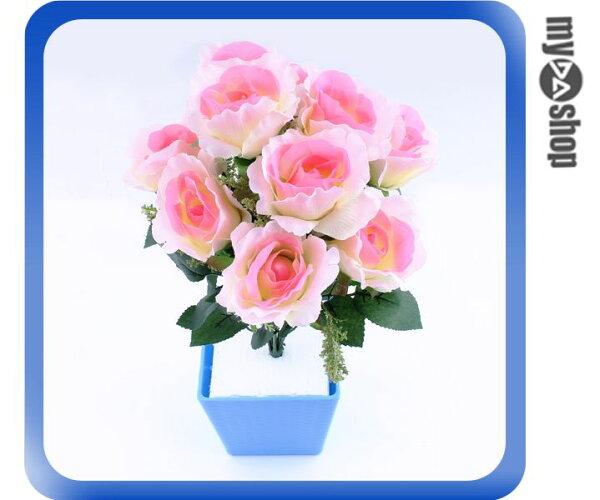 《DA量販店》仿真 塑膠花 假花 造景 裝潢 佈置 10朵 玫瑰花 粉紅色(79-3647)