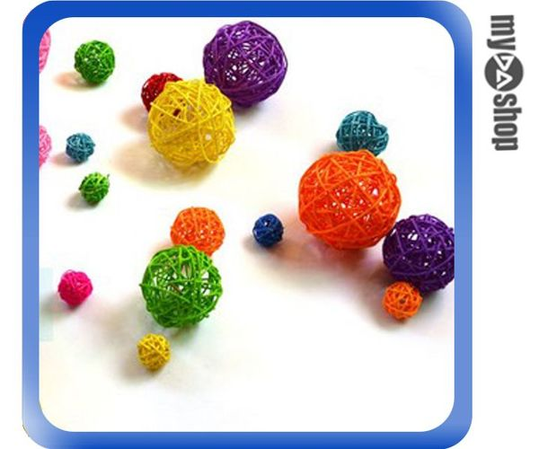 《DA量販店》櫥窗 攝影 會場 裝飾 布置 掛飾 DIY 彩色 藤球 3cm 顏色隨機(79-6760)