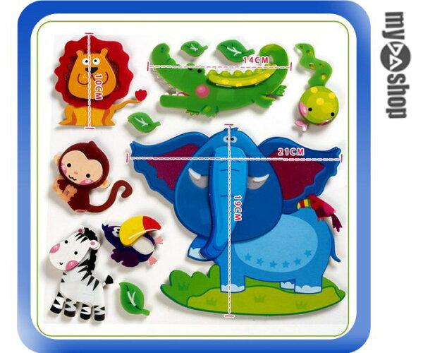 《DA量販店》可愛 活潑 飾品 布置 壁貼 牆貼 兒童 立體 鱷魚 大象 獅子 猴子(79-6766)