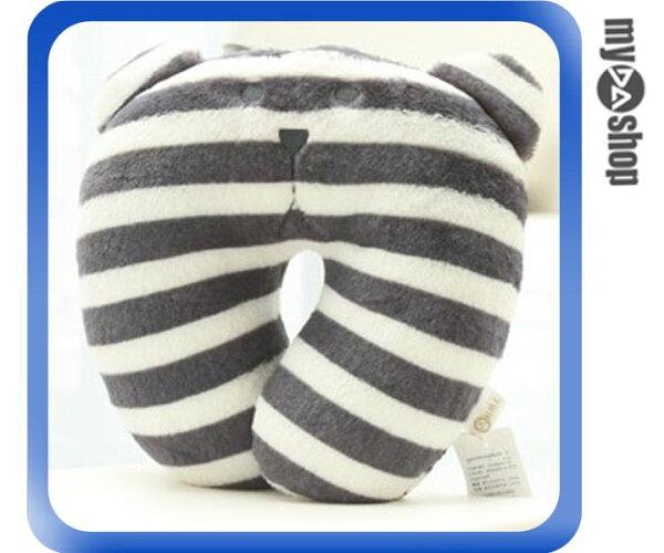 《DA量販店》日本 辦公室  梨花 熊 U型枕 靠枕 頭枕 頸枕 午睡枕 黑白條紋(79-6840)