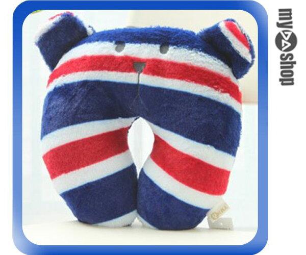 《DA量販店》日本 辦公室  梨花 熊 U型枕 靠枕 頭枕 頸枕 午睡枕 英國國旗(79-6844)