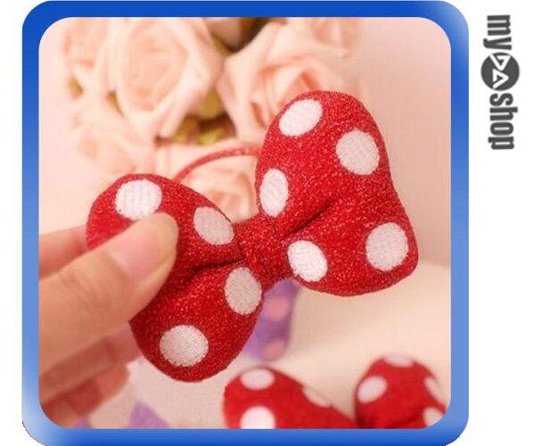 《DA量販店》可愛 米妮 圓點 大蝴蝶結 綁髮帶 髮束 髮圈 髮飾 紅色 小(79-6873)