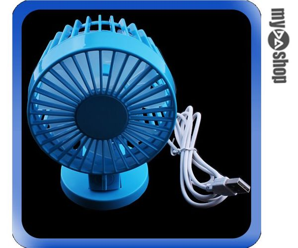 《DA量販店》USB 雙葉 風扇 迷你電扇 辦公室 桌上型 可拆式 藍色(80-0934)