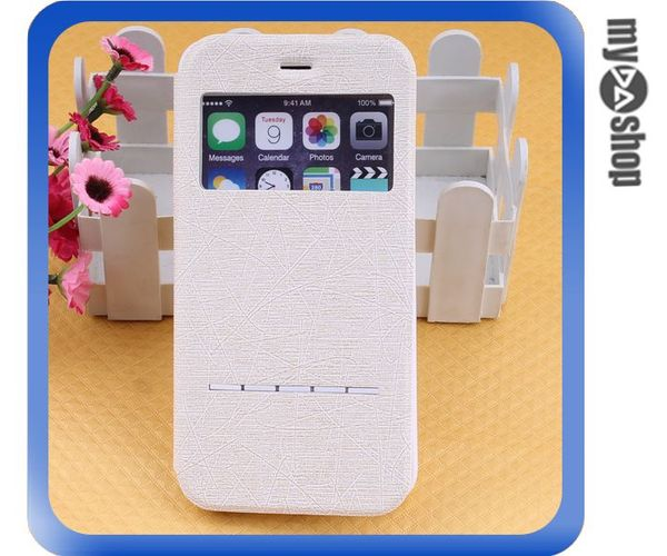 《DA量販店》Apple iphone6 plus 5.5吋 免翻蓋 掀蓋 感應 皮套 白色(80-1292)