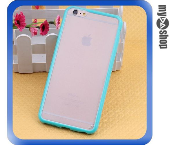 《DA量販店》蘋果 iphone6 4.7吋 糖果色 PC+TPU 透明 磨砂 手機殼 藍綠色(80-1547)