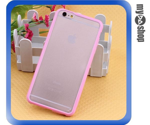 《DA量販店》蘋果 iphone6 4.7吋 糖果色 PC+TPU 透明 磨砂 手機殼 粉紅色(80-1550)