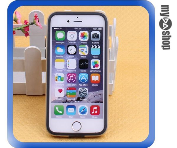 《DA量販店》蘋果 iphone6 4.7吋 雙色 PC 手機邊框 手機框 黑+金(80-1594)