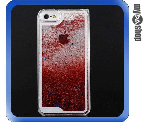 《DA量販店》蘋果 iphone5 5s閃亮 流星 流沙 星砂 手機殼 紅色(80-1637)