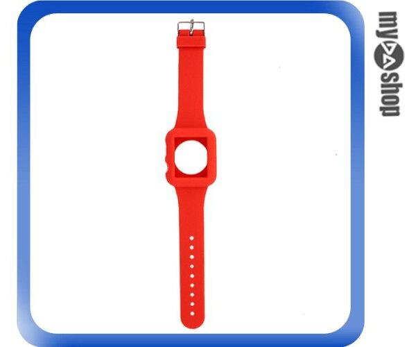 《DA量販店》Apple watch sport 38mm 矽膠套 保護殼 錶帶 紅色(80-2042)