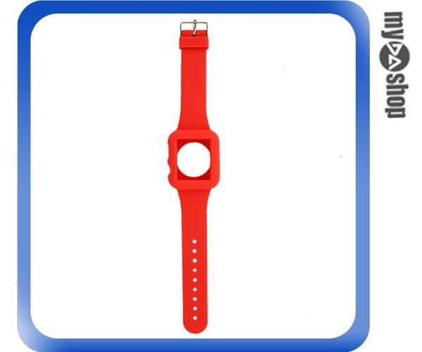 《DA量販店》Apple watch sport 42mm 矽膠套 保護殼 錶帶 紅色(80-2043)