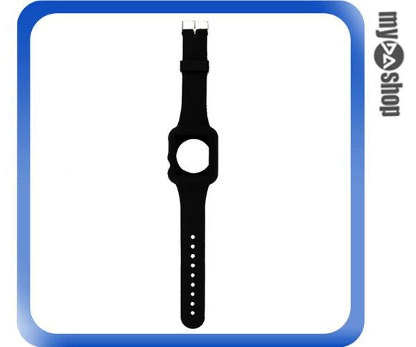 《DA量販店》Apple watch sport 42mm 矽膠套 保護殼 錶帶 黑色(80-2053)