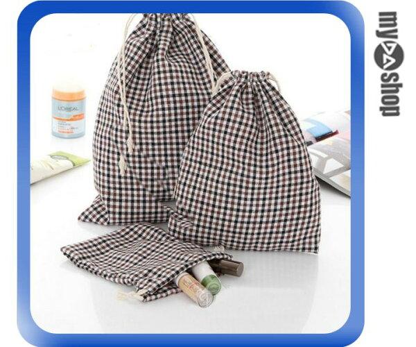 《DA量販店》麻棉布 方格 格子 收納袋 縮口袋 禮品袋 咖啡色 大(V50-0108)