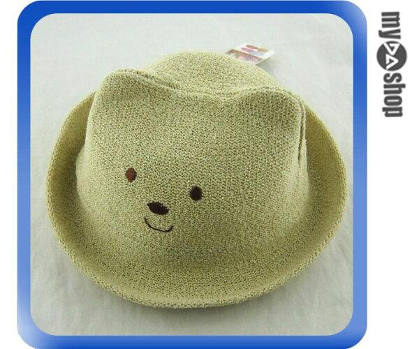 《DA量販店》韓版 兒童 卡通 立體 造型 草帽 遮陽帽 沙灘帽 卡其色 小熊款(V50-0326)
