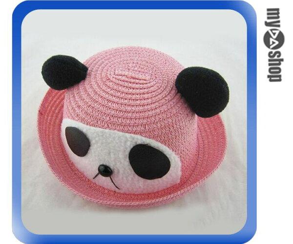 《DA量販店》韓版 兒童 卡通 造型 草帽 遮陽帽 沙灘帽 粉色 熊貓款(V50-0330)