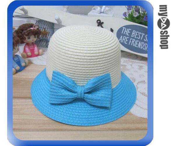 《DA量販店》親子 母女 蝴蝶結 雙色 草帽 遮陽帽 沙灘帽 兒童款 淺藍色(V50-0344)