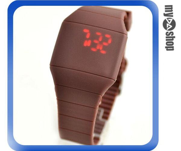 《DA量販店》韓版 時尚 簡約 LED 觸摸 手表 中性 塑膠 腕表 電子表 咖啡色(V50-0515)