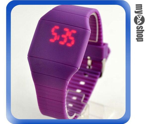 《DA量販店》韓版 時尚 簡約 LED 觸摸 手表 中性 塑膠 腕表 電子表 紫色(V50-0519)