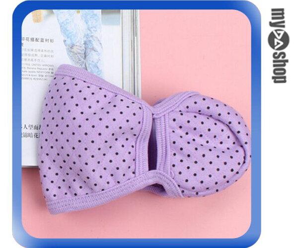 《DA量販店》寒冬 保暖 棉質 二合一 護耳 口罩 圓點 紫色(V50-0893)