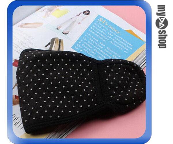 《DA量販店》寒冬 保暖 棉質 二合一 護耳 口罩 圓點 黑色(V50-0894)