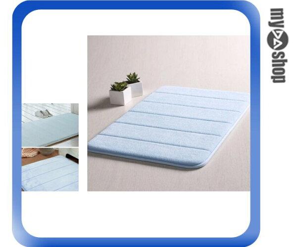 《DA量販店》居家 珊瑚絨 棉質 地墊 止滑墊 防滑墊 腳踏墊 藍色(V50-0906)