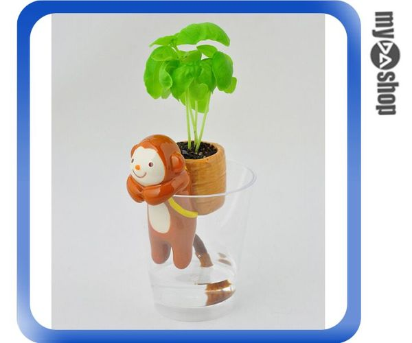 《DA量販店》動物 尾巴 吸水 造型 盆栽 迷你植物 辦公室 療癒盆栽 猴子(V50-1028)