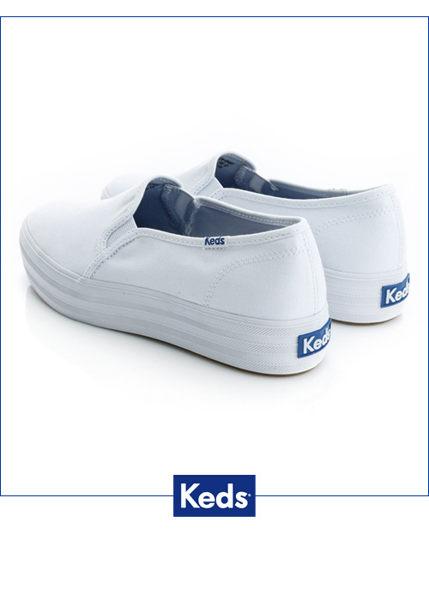 Keds 品牌經典厚底休閒便鞋(白) (限量) 套入式│懶人鞋│厚底鞋 1