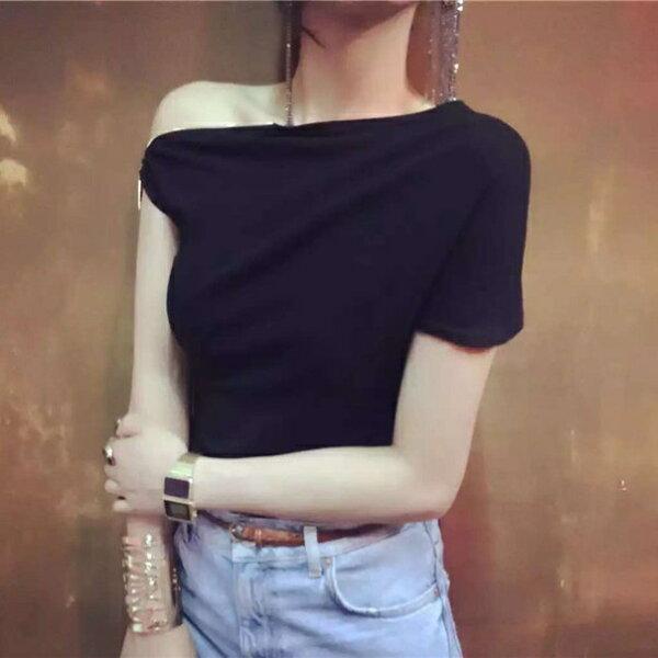 PS Mall 夏季新款個性露肩拉鍊設計一字肩斜肩短袖顯瘦不規則T恤【T1790】