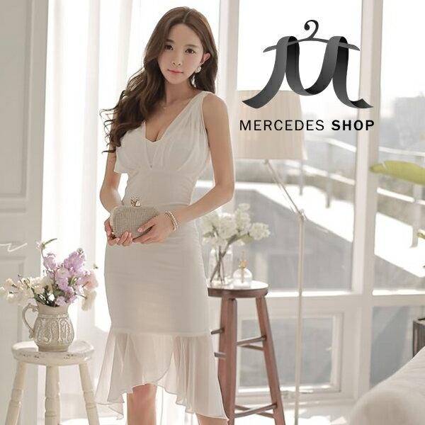 梅西蒂絲-韓國性感深V無袖魚尾裙洋裝