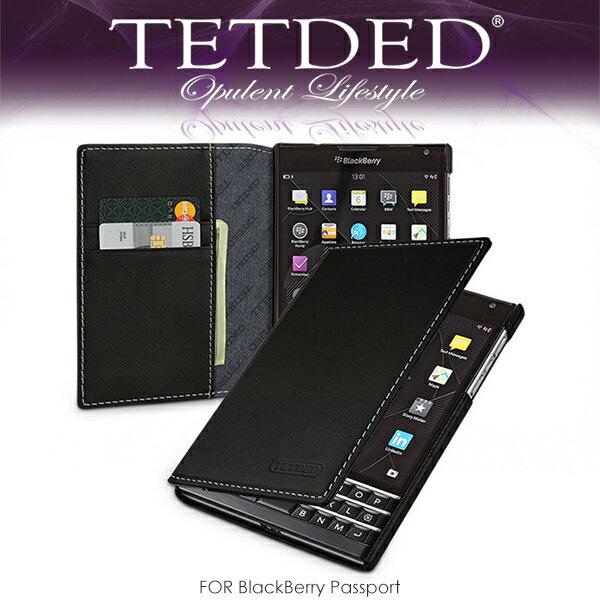 強尼拍賣~ TETDED 法國精品 BlackBerry Passport Mellac II 側翻皮套 可插卡設計