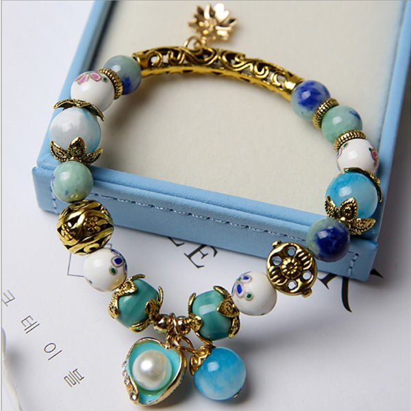 PS Mall 原創飾品 風格 陶瓷 貝殼 花朵單圈 串珠手鏈 手鐲~G1991~