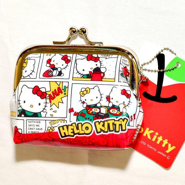 Hello Kitty 零錢包 珠扣 口金包 吊飾 雙面印刷 日本正版商品
