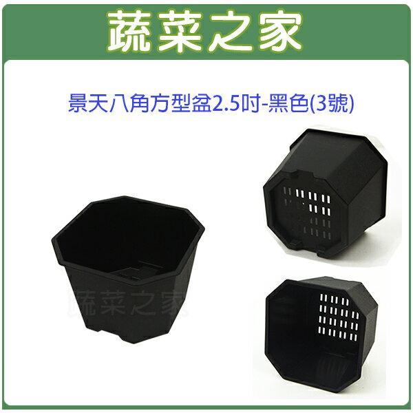 【蔬菜之家005-D116-BL】景天八角方型盆2.5吋-黑色(3號)