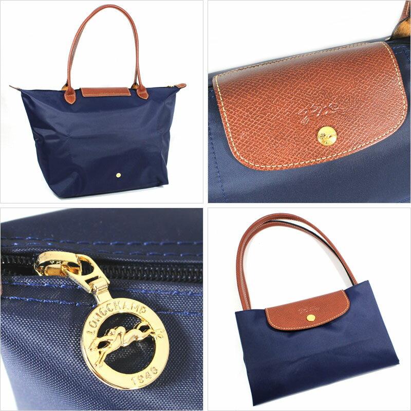 [長柄M號]國外Outlet代購正品 法國巴黎 Longchamp [1899-M號] 長柄 購物袋防水尼龍手提肩背水餃包 海軍藍 3