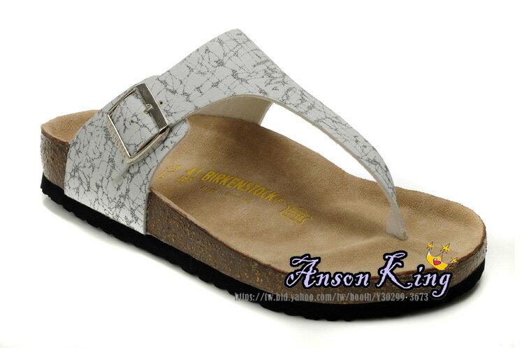[Anson King]Outlet正品代購  birkenstock 男女款 丁字夾腳 海灘 懶人涼拖鞋 白色黑紋 2
