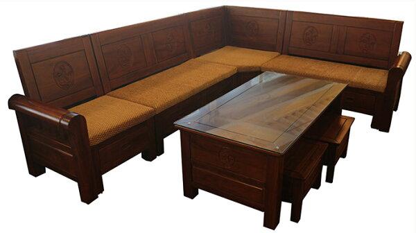 【尚品傢俱】 648-18 安德爾納黃花梨L型木組椅/會客木椅組/客廳木組椅/家庭木製沙發組