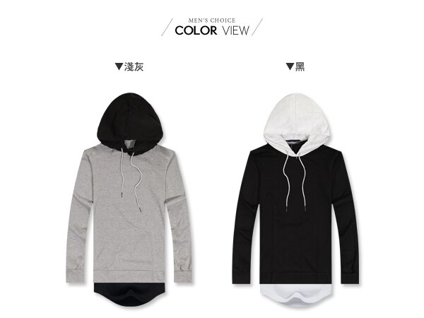 ☆BOY-2☆【JN7313】假兩件式撞色開岔連帽長袖上衣 1