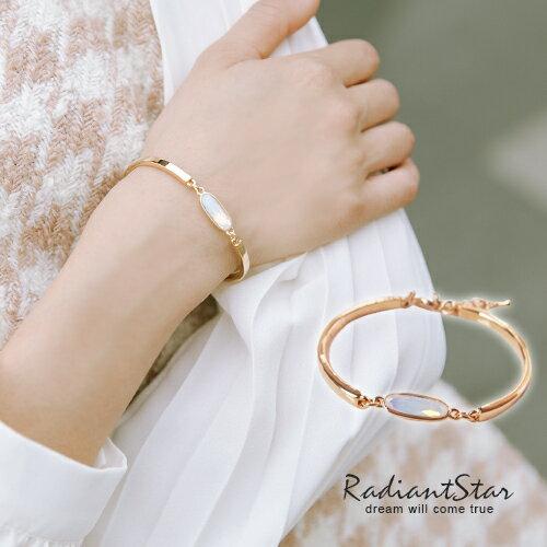 簡約質感玫瑰金邊手環蛋白色貓眼石手環/手鐲【BAK332】璀璨之星☆