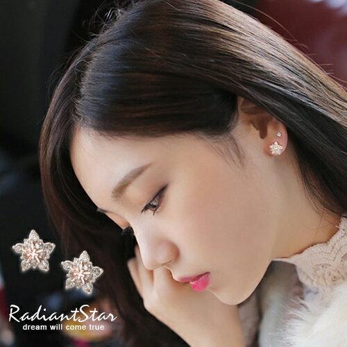 韓國閃耀迷人雪花皓石耳環~R016~璀璨之星~