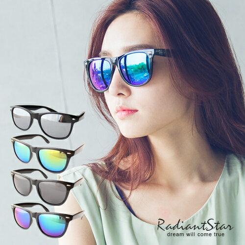 韓國時尚特搜基本款米釘復古反光水銀墨鏡【U2214】璀璨之星☆