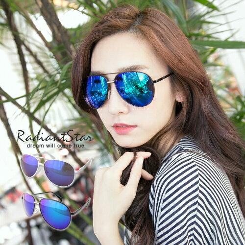 韓國經典雷朋黑白水銀反光藍水銀墨鏡【UCL41807】璀璨之星☆