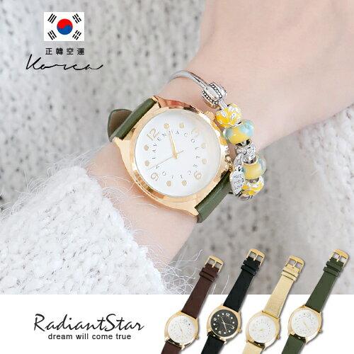 正韓LAVENDA細膩質感圓點刻度真皮手錶【WLA256】璀璨之星☆
